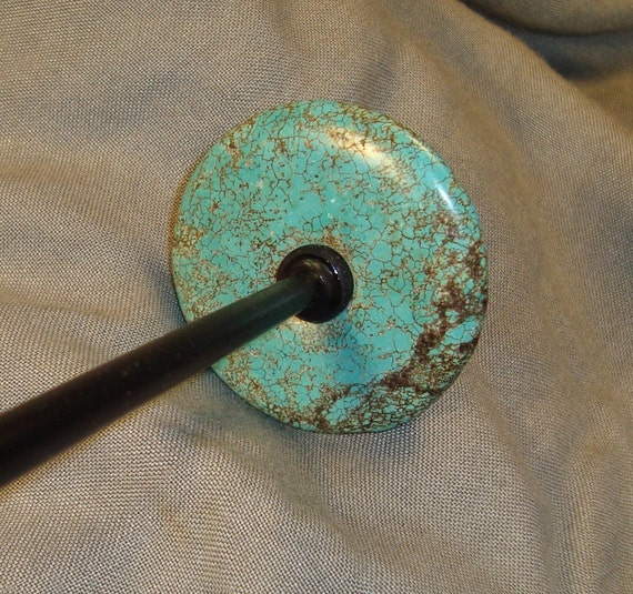 Spindle Stone Turquoise Howlite Stone Drop Spindle Bottom Whorl SP96