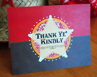 INSTANT DOWNLOAD (Digital) Cute Little Cowboy Thank You Note Card - Red and Brown with Sheriff's Badge, Thank Ye' Kindly
