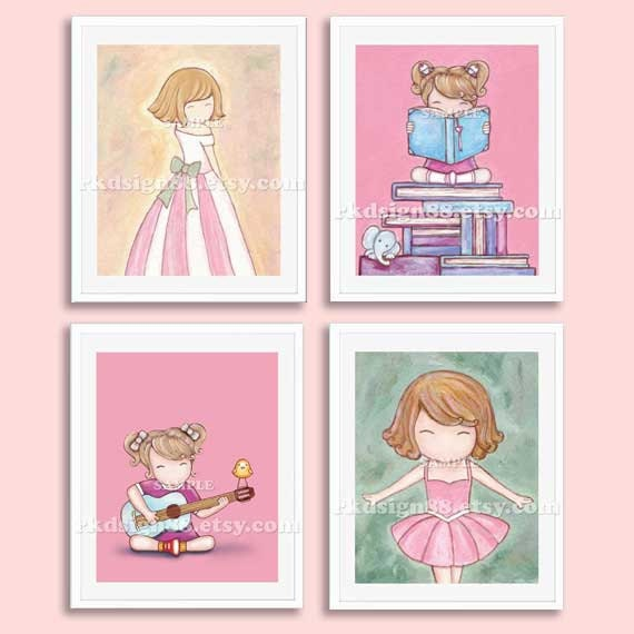 Nursery art prints baby girl nursery decor nursery print girls room decor kids wall art blonde SET, 4 prints