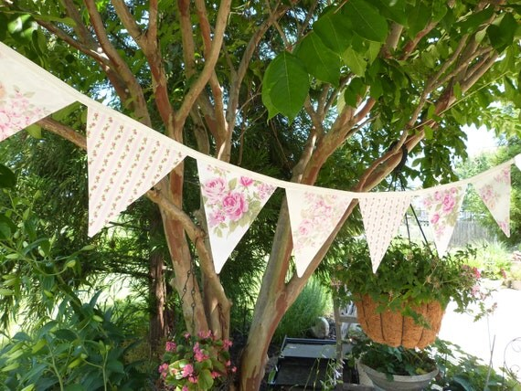 Shabby Ashwell Roses Chic Party, Baby Shower, Birthday, Decorating 10 Bunting Flags- 8 Feet