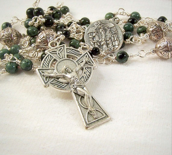 Our Lady Of Knock Rosary Irish Celtic Green Kambaba Jasper