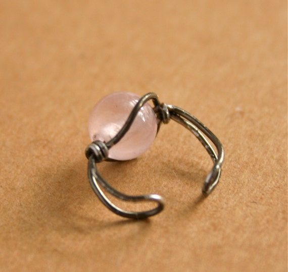Rose Quartz and Gunmetal Wire Wrapped Ear Cuff