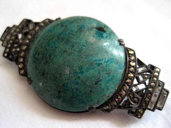 Vintage Art Deco Brooch - Sterling and Chrysocolla