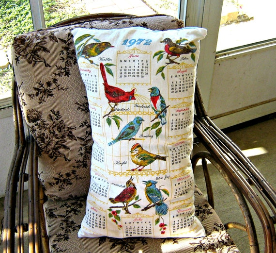 1972 Vintage Calendar Towel Throw Pillow 24 X 14  FREE US SHIPPING