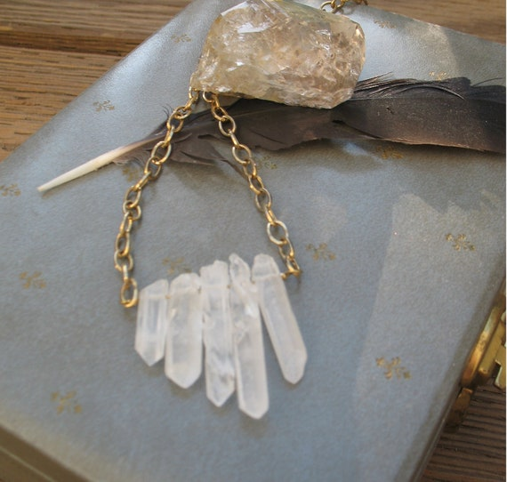 In the Crystalline Knowledge of You Five Point Quartz Necklace on Repurposed Gold Tone Chain by fhf