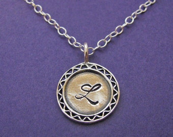 filigree monogram necklace in sterling silver