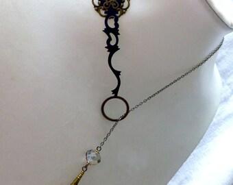 OOAK L'Opera Black Lariat Necklace - Steampunk Repurposed Hour Hand Statement Necklace