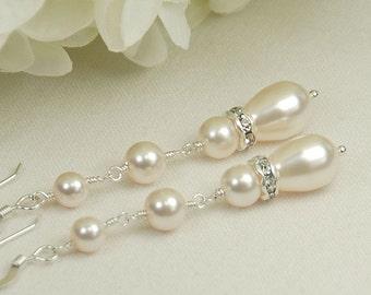 Long Pearl & Rhinestone Dangle Earrings, Bridal Earrings, Bridesmaid Wedding Earrings,Wedding Jewelry, Swarovski Pearls in Sterling Silver