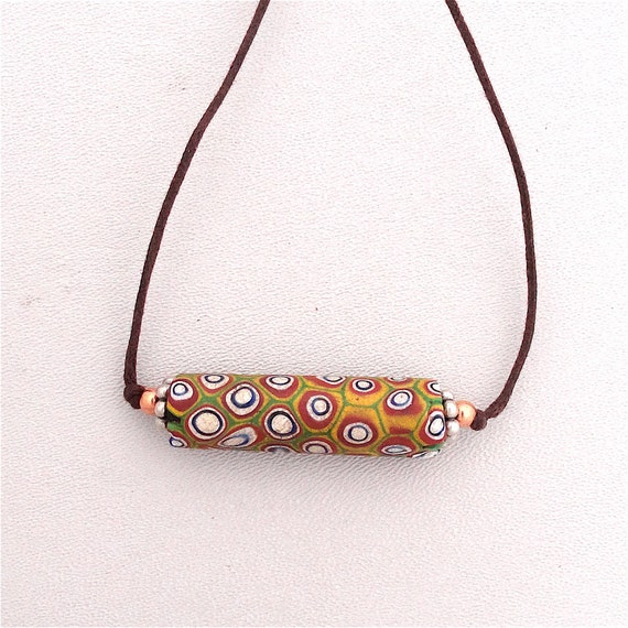 African Trade Bead Millefiore Historic Collectable Two Knot Necklace