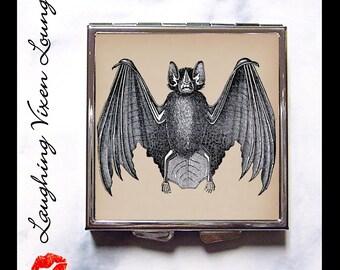 Bat Pill Box - Vintage Bat Compact Mirror Style-D - Vampire Compact Mirror - Bat Pill Case - Gothic Compact Mirror