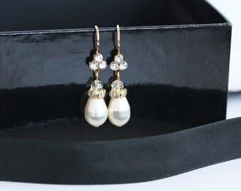 Gold Bridal Earrings Pearl Teardrop Wedding Earrings Simple Bridal Earrings Rhinestone White Ivory Pearl Swarovski Crystal  BETH