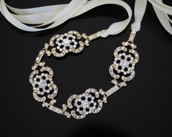 Gold Wedding Headband Ribbon Headband Vintage Art Deco Head Piece Crystal Headpiece Wedding Hair Accessories, FRANCES RIBBON