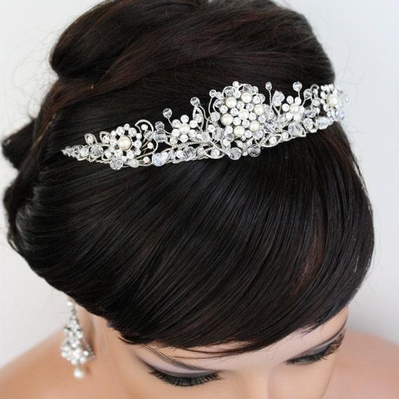 Wedding Bridal Tiara, Pearl and Rhinestone Head Piece, Beaded PARIS