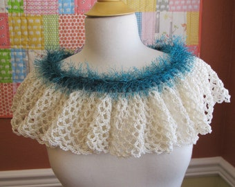 Crocheted Ivory Ruffle Capelet. Cotton. Teal.