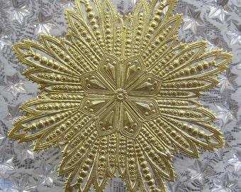 Dresden Trim Large Gold Snowflake Made In Germany Die Cut Christmas