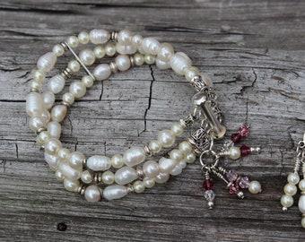 Triple Freshwater Pearl and Swaroski Crystal Bangle Bridal Bracelet