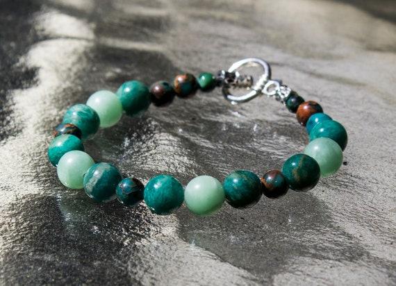 Gemstone Bracelet with Adventurine and Aqua Terra Jasper