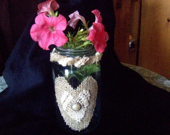 Wedding Vase Lace and Burlap Vintage Jar Candle Holder