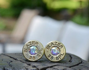 Bullet Earrings stud or post, brass/gold Blazer .38 special with Swarovski crystals