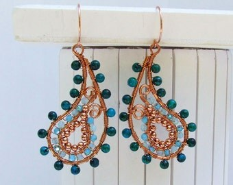 Paisley Earrings - copper paisley earrings with blue and green beadwork