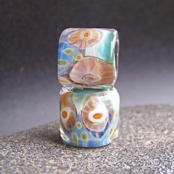 MruMru Handmade Lampwork Glass Bead Earring Pair. Organic Murrini Rolos. Sra.