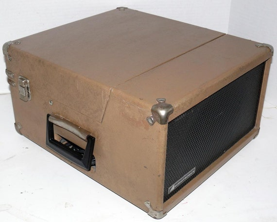 1960's Record Player in Tan Leatherette Case With Warranty