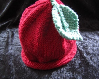 Hand Knitted Cashmere and Wool Apple with Leaf Baby Hat 6-12 months