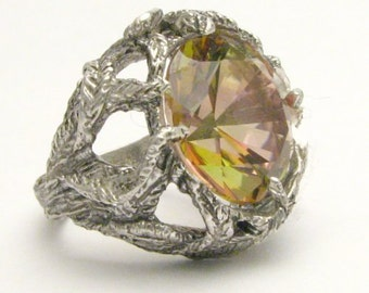 Handmade Sterling Silver Mango Magic Mystic Topaz Vine Ring