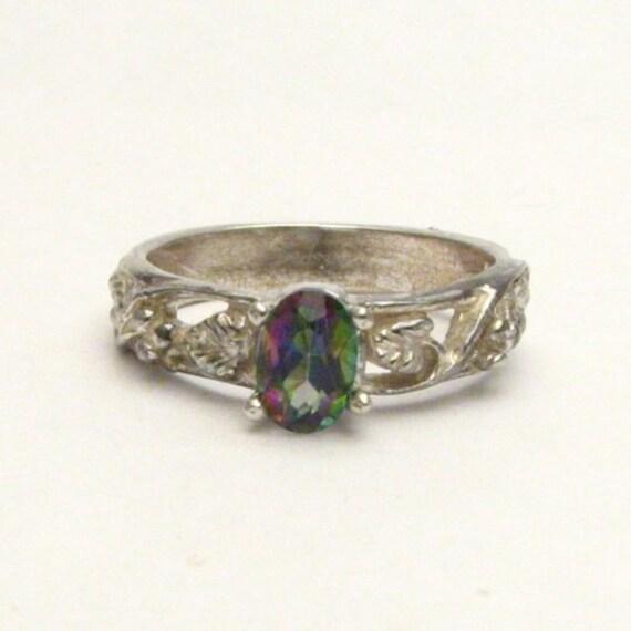 Handmade Sterling Silver Mystic Topaz Vine Gemstone Ring