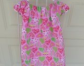 Sale Last One Size 5 Pink Searsucker Peasant Style Dress with Hearts