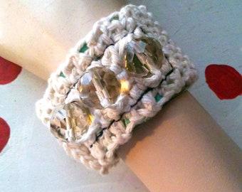 CROCHET CUFF BRACELET Crystal