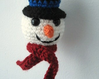PATTERN Snowman Ornament - Top Hat and Carrot Nose - Crochet, Amigurumi - Babysafe, Unbreakable - Instant Download by lostsentiments