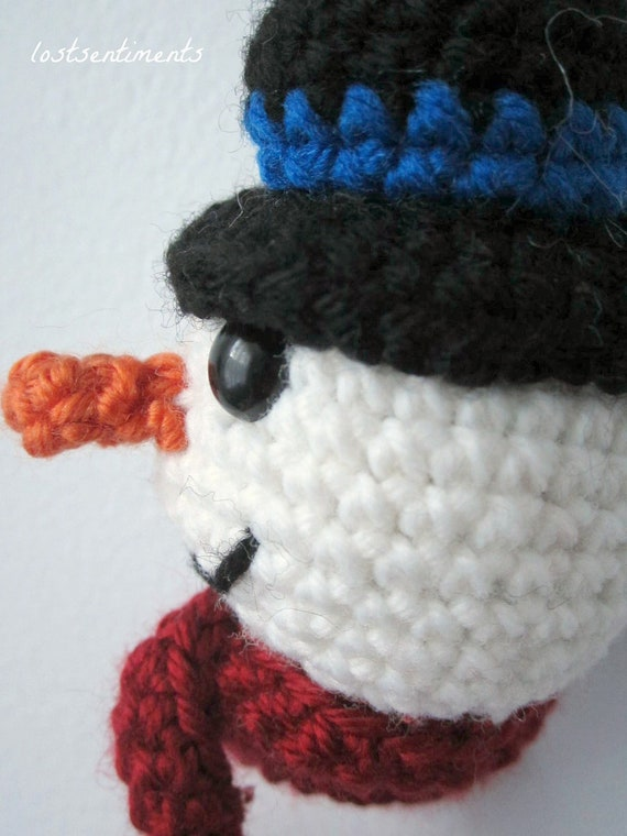 Amigurumi Top Hat Pattern : PATTERN Snowman Ornament - Top Hat and Carrot Nose ...