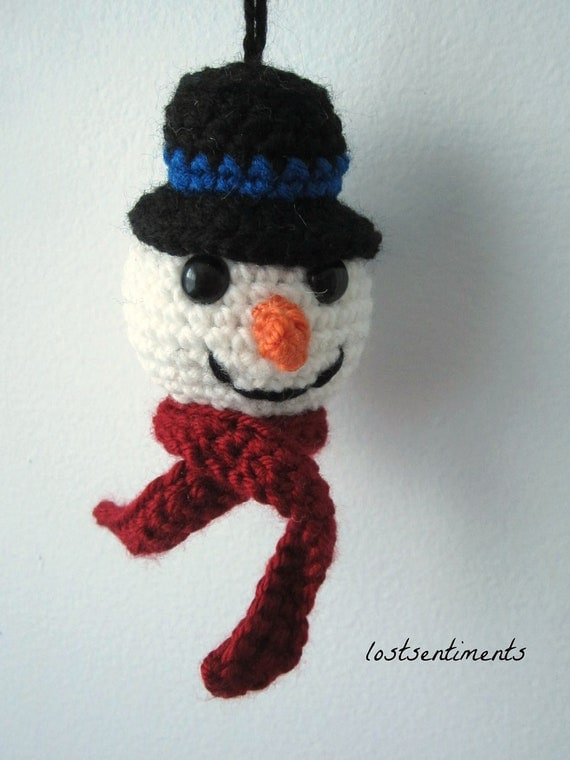 Amigurumi Top Hat Pattern : PATTERN Snowman Ornament Top Hat and Carrot Nose Crochet
