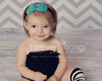Newborn Flower Headband, Aqua Headbands Baby Girl, Shabby Flower Headbands Baby Girl, Hair Accessories, Baby Headbands