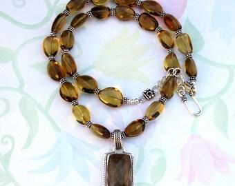 Gold Rutiliated Quartz Pendant and Honey Topaz Strand Necklace
