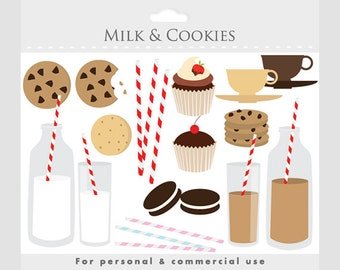 Milk and cookies sweets clipart - clip art milk, biscuits, cookie, striped straws, red, brown, cream, cupcakes, teacups, chocolate milk