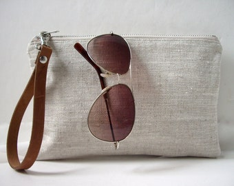 Wristlet, Simple Clutch Bag, Linen Clutch, Neutral, Natural Linen Bag, Simple Purse, Summer Clutch