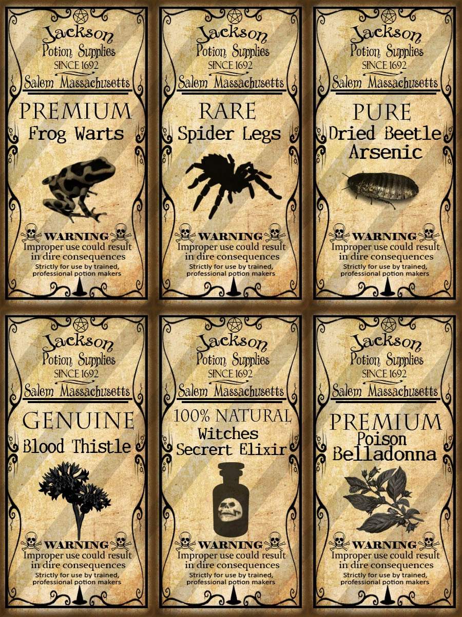 This is a picture of Gorgeous Printable Potion Labels