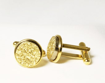 Gold Cuff Links Gold Titanium Druzy Cuff LInk Gold Drusy Cuff Links Druzy Jewelry Drusy Jewelry Wedding Cuff Links