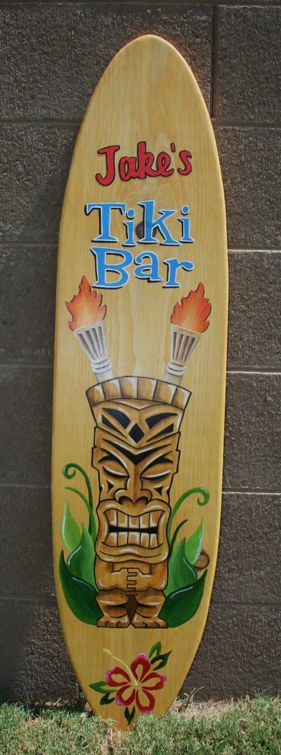 4 39 surfboard wall art tiki bar custom painted for Surfboard bar top ideas