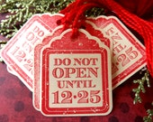 Do Not Open Until Christmas gift tags // Set of 12 // Red and Cream