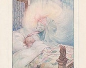 Vintage 1915 The Moon Child's Illustration, Print to Frame by Ann Anderson, Sleep Theme, Nursery, Poem