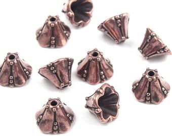 20 Copper Bead Caps Medium Bellflower Beadcaps Antique Copper Beads TierraCast Pewter Metal Beads (PC65)