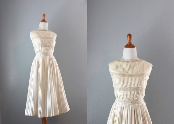 Vintage 50s Dress / 1950s Cream Pleated Dress Set / Knife Pleats and Pearls Dress