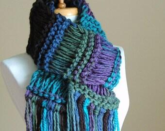 Ocean Jewels Knit Fringe Scarf, Women's Scarf, Vegan Scarf, Original Design in Drop Stitch in Turquoise Blue Black Purple Green Royal Blue