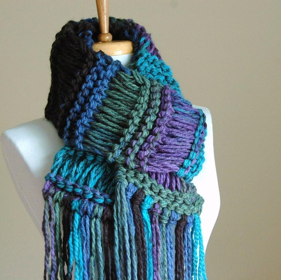 Drop Stitch Scarf Knit Pattern : Chunky Hand Knit Scarf Drop Stitch in Turquoise Blue by PhylPhil
