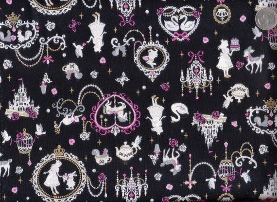 Two Yards Japanese Cotton Cosmo Textile Fabric Border Alice Wonderland Silhoutte Chandelier Framed Black
