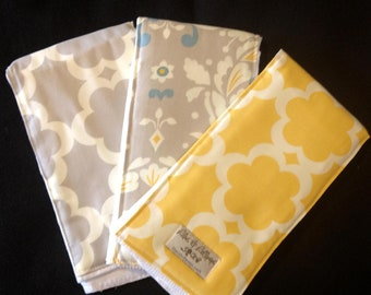 Burp Cloths-Grey Tarkia  BurpieTrio
