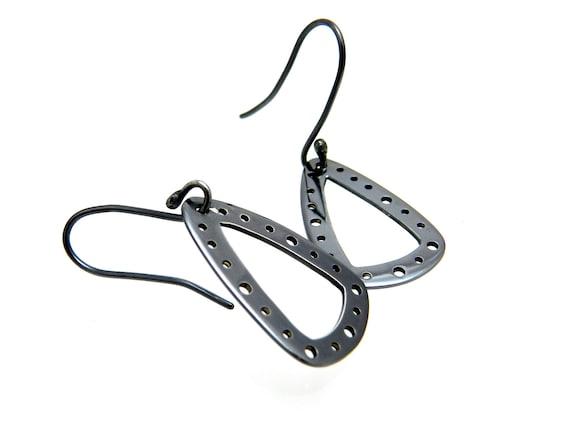 Silver Teardrop Earrings/ Silver Drop Earrings/ Handmade Silver Minimal Design/ Black Silver Earrings